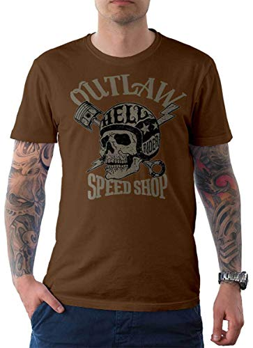 Rebel on Wheels heren t-shirt Tee Outlaw Speed Shop Skull Skull Bike Motorfiets Biker