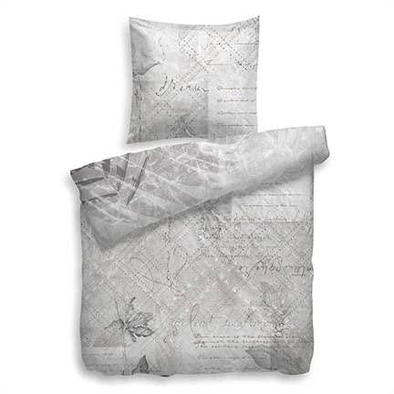Heckett Lane Parure de lit réversible en Satin de Coton mako Gris 135 x 200 cm (80 x 80)