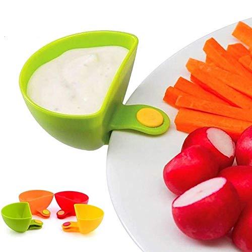 Dip Clips Dip Houders Tomatensaus Zout Azijn Suiker Ketchup Specerijen Dip Container Bowl Kunststof Plate Clips Bowl Houder, 4 stuks
