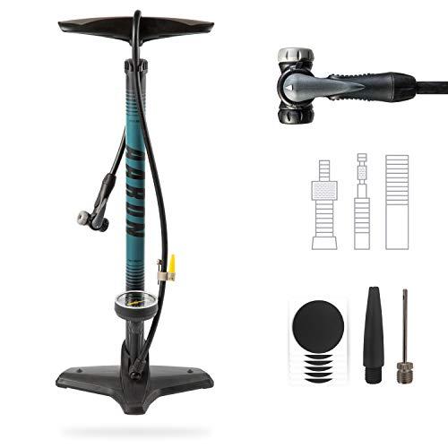 AARON Sport One Fahrrad Standpumpe mit Manometer für alle Ventile | Hochdruck Fahrradpumpe inkl. Ball Aufsatz | Luftpumpe für E-Bike, Mountainbike, Rennrad UVM. Blau