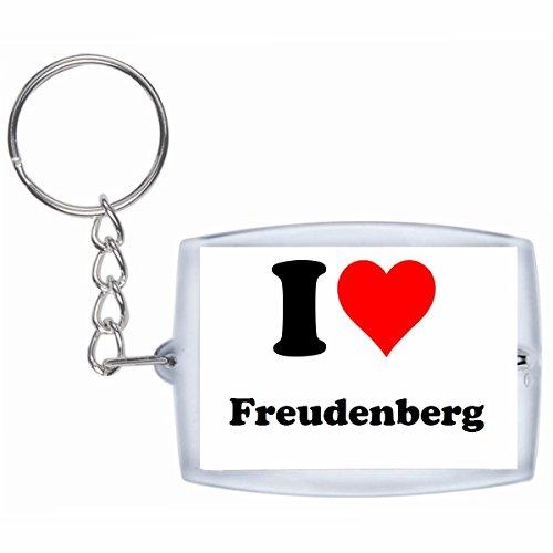 Druckerlebnis24 Schlüsselanhänger I Love Freudenberg in Weiss - Exclusiver Geschenktipp zu Weihnachten Jahrestag Geburtstag Lieblingsmensch