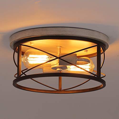 Q&S Farmhouse Industrial Semi Ceiling Light Fixture Flush...
