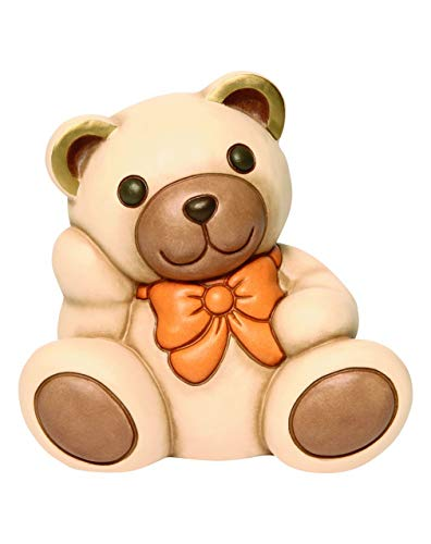 THUN® - Orso Teddy Aldo Medio con Fiocco Arancione - Animali Soprammobili da Collezione - Ceramica - I Classici