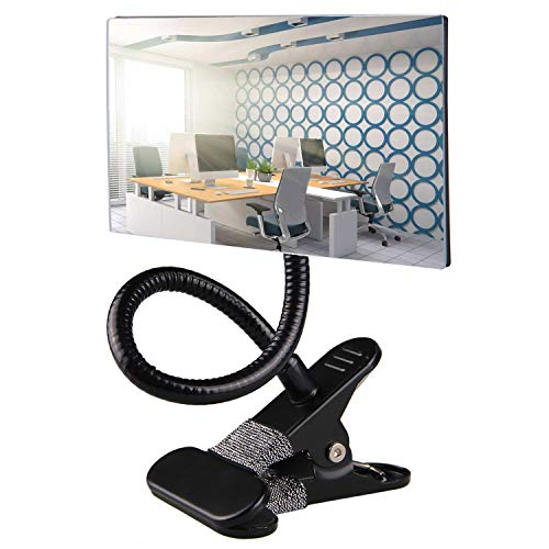 """Gosear Clip On Security Mirror,Computer Rearview HD Mirror,Clip On Cubicle Mirror for Personal Safety and Security Desk Rear View Monitors or Anywhere (6.69"""" 2.95"""" Rectangle)"""