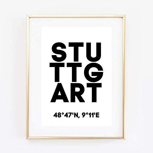 Din A4 Kunstdruck ungerahmt - Stuttgart Koordinaten Typographie Stadt City Modern Druck Poster Bild