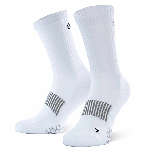 Eono by Amazon - Performance Sportsocken (3er-Pack), Unisex, Farbe: Weiß, Größen: UK 6-8, EU 39-42