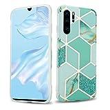 Cadorabo Funda para Huawei P30 Pro en Mármol Verde Oro Verde Claro No.3 - Cubierta Proteccíon de Silicona TPU en Motivo Mosaico - Gel Case Cover Carcasa Ligera