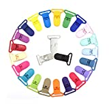 24pcs/Pack 1' 25mm Plastic Pacifier Clips/Suspender Clips Dummy Baby Pacifier Holder for Teether/Binky/Paci/Bib/Toy Holder Clip Mix 24 Colors