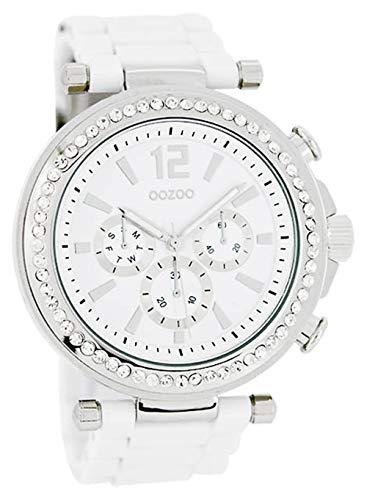 Oozoo Strass Damenuhr mit Kunststoffband 45 MM Weiß/Weiß C4925
