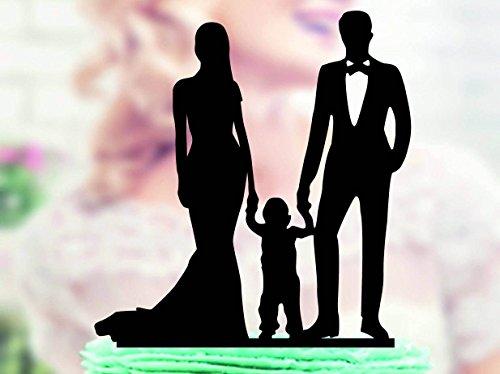 Decoración para tarta de boda con silueta para novio y novio con niño pequeño, decoración para tarta de boda familiar para novia y novio con niño pequeño