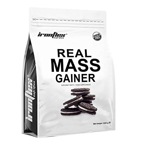 IronFlex Real Mass Gainer Package of 1 x 1000g - Mass Gainer - Carbohydrates - Concentrate and Whey Protein Isolate - Micellar Casein - Muscle Growth - Amino Acids (Chocolate Cookie & Cream)
