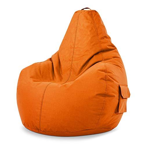 Green Bean © Cozy Beanbag, Gaming Sitzsack Sessel 80x70x90 cm, 230 Liter EPS Perlen Füllung, Indoor Gamingstuhl & Outdoor Gamer Sitzkissen, Bean Bag Lounge Chair für Kinder & Erwachsene, Orange