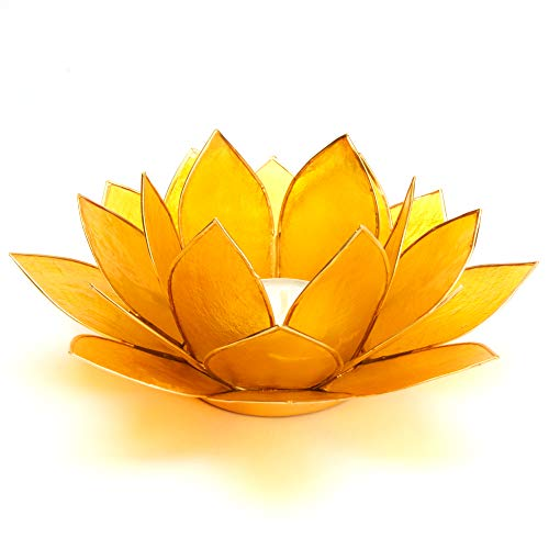 Lotus Teelicht gelb aus Capiz Muschel - Natur Qualität Kerzenhalter, Windlichter, Teelichthalter - Dekoration 13,5 cm x 13,5 cm x 8 cm