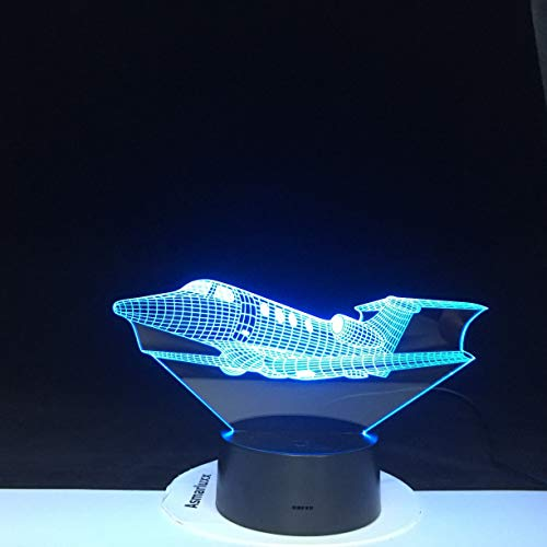 Air Plane 3D Table Lamp 16 Colors Change Night Light Aircraft Table Lamp Acrylic Illusion Desk Night Light Christmas Kids Gift 2074