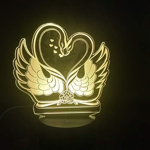 sanzangtang LED-Nachtlicht 3D-Vision-Sieben-Farben-Fernlicht Schwanenpaare lieben Sich bei der Raumdekoration als batteriebetriebenes NachtlichtJungen Nachtlichter für Schlafzimmer