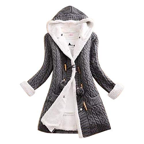 Women Cable Knit Cardigan Sweater Chunky Open Front Outwear Long Sleeve Fleece Lined Warm Hooded Coat Knit Drape Coat Memela Gray