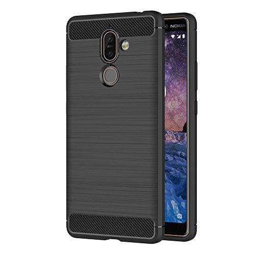 AICEK Cover Nokia 7 Plus, Nero Custodia Nokia 7 Plus Silicone Molle Black Cover per Nokia 7 Plus Soft TPU Case (6.0 Pollici)