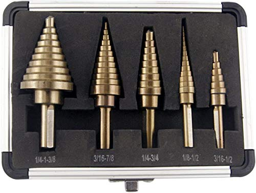Step Drill Bit Set, PANGOLIN High Speed Steel HSS 5-Piece Step Drill Set 50 Sizes Standard Drill Holes with X-Type Openings Design and Package with Sturdy Aluminum Case