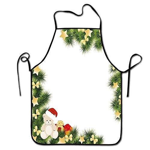 N\A Delantal de Navidad para niños Cocina Lindo Oso de Peluche en Ramas de Hoja perenne con Estrellas Pajaritas Sorpresa Cajas Delantal Café Verde Oro Rojo