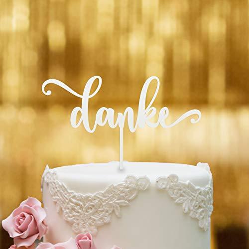 Cake Topper Danke Schriftzug - Acrylglas Weiss - XL - Tortenaufsatz, Kuchen, Tortendeko, Tortenstecker, Kuchanaufsatz, Kuchendeko