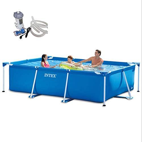 TYP Mall Piscina Desmontable Tubular Infantil Deluxe Splash Frame Pool Instalación Móvil Fácil Soporte De Piscina Rectangular De Gran Tamaño para Niños Ancianos Adultos,220x115x60cm