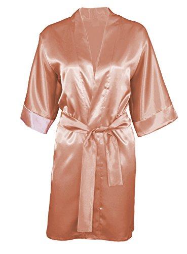 DKaren 90 Morgenmantel Satin Robe Nachtwäsche Bademantel Kimono Schlafanzug Hellbraun Small