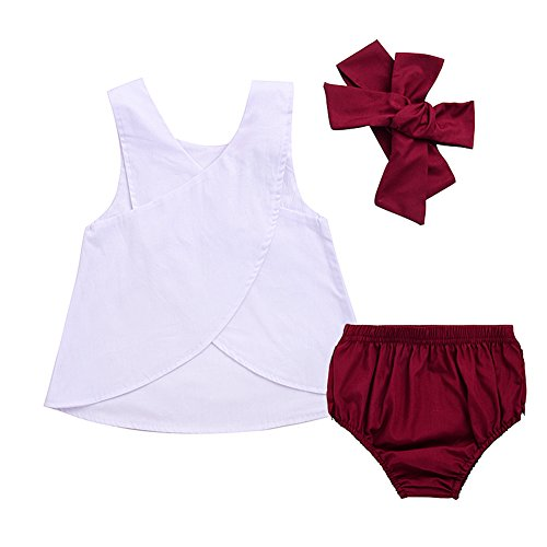 3pcs Baby Girls Rabbit Printed Cross Shirt+Ruffled Leaf Short Pants+Headband Outfit Set (0-6M, White&Red)