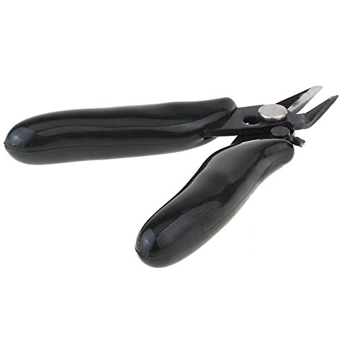 Rayley Wire Cutter 3.5 Inch Mini Diagonal Pliers Micro Small Soft Cutting Electronic Pliers Wires Soft Insulating Rubber Non-slip Handle Model Pliers DIY Hand Tools Black (Black)