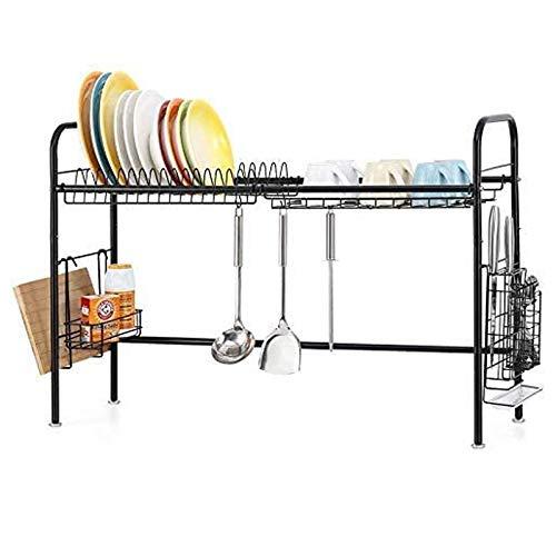 HAITRAL Escurreplatos de acero inoxidable para cocina, soporte para tabla de cortar, longitud ajustable, color negro