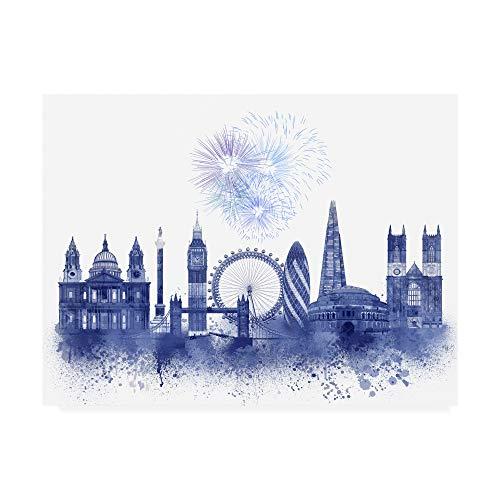Trademark Fine Art London Skyline Watercolor Splash Blue by Fab Funky, 14x19