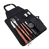 qwertyu Juego de herramientas para barbacoa, 8 piezas y set de barbacoa de cocina con delantal portátil de acero inoxidable