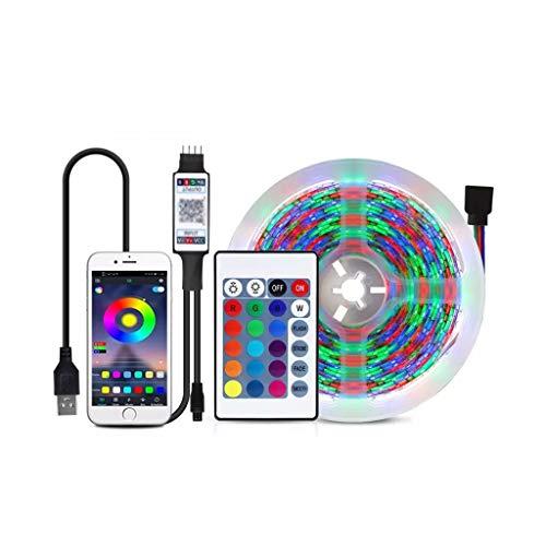 DSFEOIGY Bluetooth LED Strip 2835 DC 5V USB RGB LED Luces de Cinta Impermeable diodo lámpara de Cinta Flexible Control de Bluetooth 1m 2m 5m (Size : 5M)
