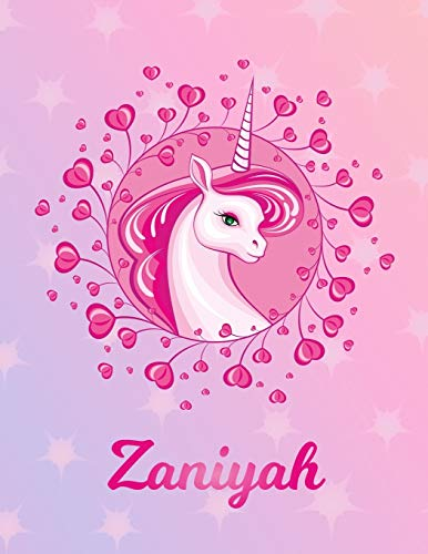 Zaniyah: Unicorn Sheet Music Note Manuscript Notebook Paper – Magical Horse Personalized Letter Z Initial Custom First Name Cover – Musician Composer … Notepad Notation Guide – Compose Write Songs