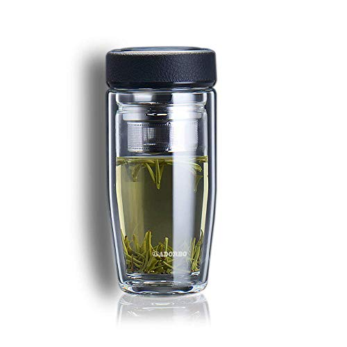 Tea Infuser Glass Water Bottle, Double Wall Glass Tea Tumbler with Strainer for Loose Leaf Tea and Fruit