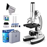 TELMU Microscope for Children. Compound Binocular Microscope with Metal Arm, Handy Storage Case, 300X-600X-1200X Magnifications, Educational Science Kits (70x + Accessory Set)