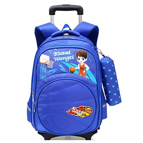 Mochila de baloncesto con ruedas para niños, mochila reflectante con 6 ruedas, mochila escolar para niños (7-16 años)