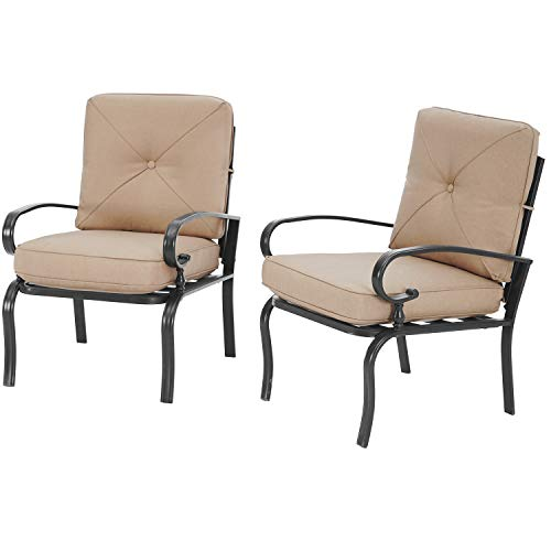 SUNCROWN 2-Piece Outdoor Metal Furniture, Patio Chairs Set of 2, All-Weather Bistro Seating Chairs, Wrought Iron Dining Chair with Thick Olifen Fabric Cushion(Brown)