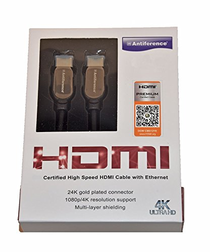 Antiferentie HDMI Premium gecertificeerde High Speed Kabel met Ethernet voor Feature Rich 4K/UltraHD Content 3m Goud