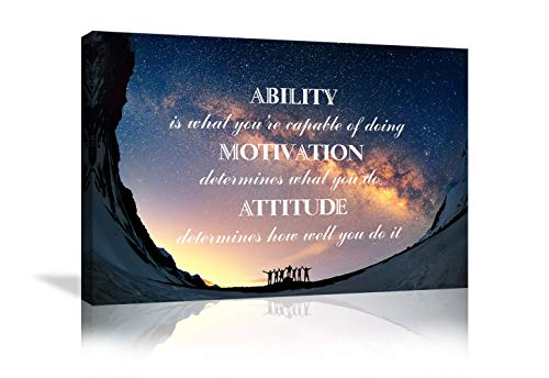 Inspirational Wall Art Ability is What You're Capable of Doing Motivation Attitude Entrepreneur Quotes Posters Starry Sky Paintings Prints Motivational Wall Decor for Office Home Framed Ready to Hang