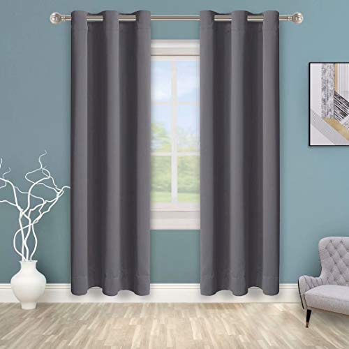 BONZER Grommet Blackout Curtains for Bedroom - Thermal Insulated, Energy Efficient, Noise Reducing and Light Blocking, Room Darkening Curtains for Living Room, Grey, 40 x 84 inch, Set of 2 Panels