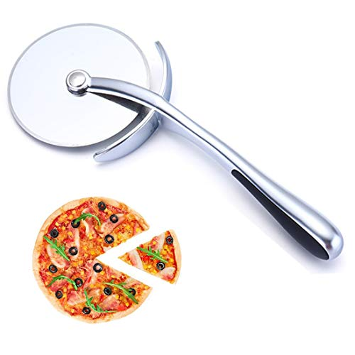 Cortador de pizza de acero inoxidable de calidad, cortador de pizza muy afilado con mango antideslizante, ideal para pizza, tartas, waffles y galletas de masa.