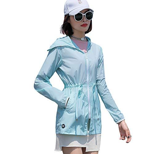 Sidiou Group Sudadera con capucha UPF50 + con protección UV cortavientos de secado rápido para Primavera-Verano para Mujer