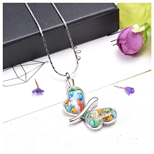 Cremation Urn Necklace 38Mm Glass Beautiful Butterfly Urn Pendant Necklace For Ashes Cremation Jewelry Charms For Women Girl