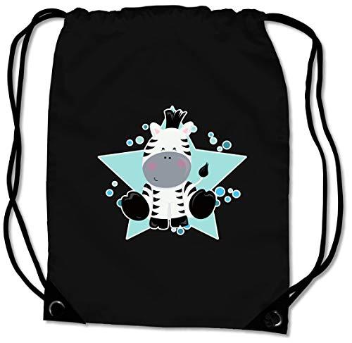 Samunshi® Turnbeutel mit Zebra für Jungen und Mädchen Sportbeutel für Schule Sport Sporttasche schwarz