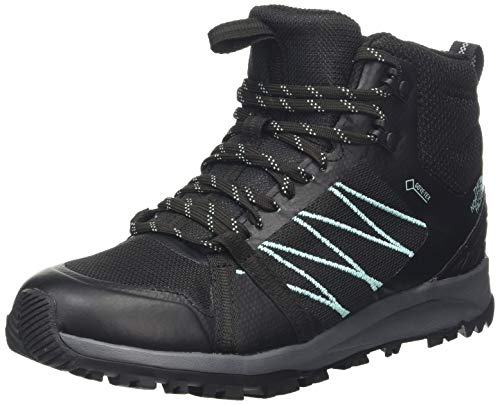 The North Face W LW Fp II Mid GTX, Botas de Senderismo Mujer, Negro (TNF Black/Aqua Splash U3b), 40 EU