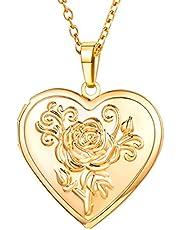 U7 Collar Foto Personalizable, Colgante de Guardapelo Relicario en Forma de Corazón, Material Cobre, Joyería Conmemorativa para Mujeres, Caja de Regalo