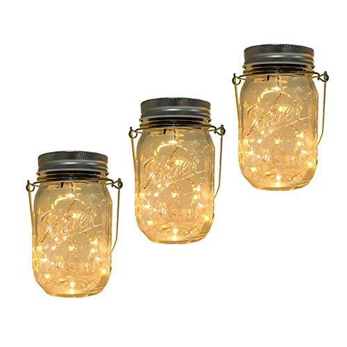 Solar Einmachglas Laterne Licht, 3 Pack 20 LED Schnur Sternen Hängelampe, Fee Leuchtkäfer Lights Kit für Terrasse Garten Hochzeit Tischdekoration mit Einmachglas & Aufhänger