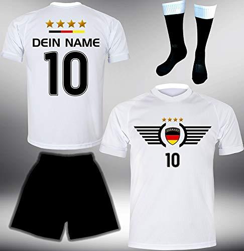 DE-Fanshop Deutschland Trikot Set 2018 mit Hose & Stutzen GRATIS Wunschname + Nummer im EM WM Weiss Typ #DE3ths - Geschenke für Kinder Erw. Jungen Baby Fußball T-Shirt Bedrucken