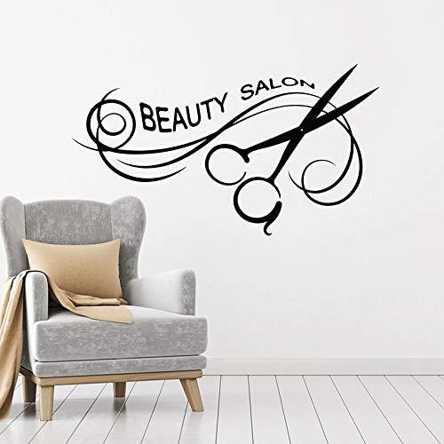 WERWN Calcomanía de Pared Salón de Belleza Peinado Peluquería Herramientas de decoración de Interiores Tijeras Puertas y Ventanas Pegatinas de Vinilo Papel Tapiz Creativo