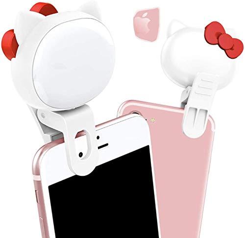 Luz de anillo LED teléfono celular, luz de selfie 2 en 1 Mini clip en Smartphone, brillo de maquillaje ajustable portátil lámpara de videoconferencia kit de iluminación, B